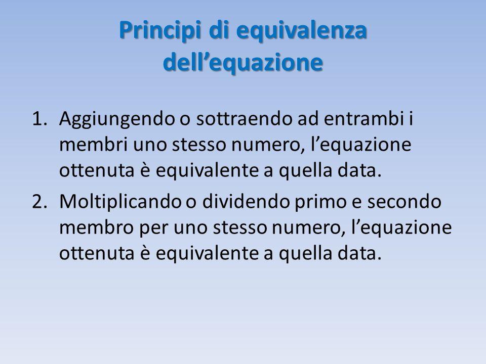 Principi di equivalenza dell'equazione