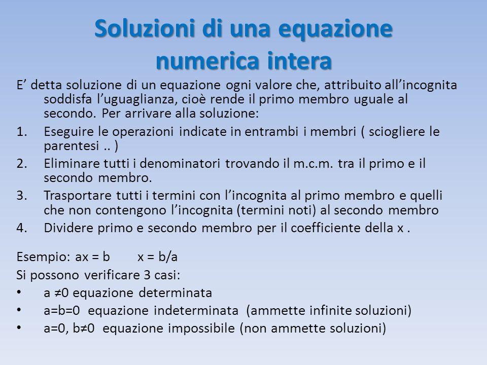 Soluzioni di una equazione numerica intera