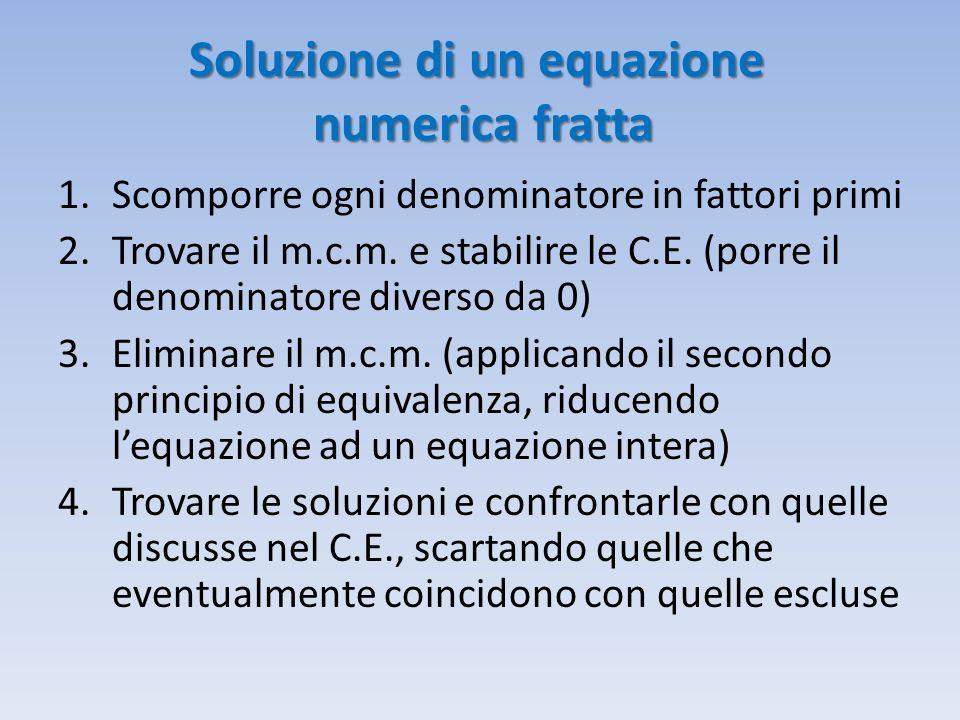 Soluzione di un equazione numerica fratta
