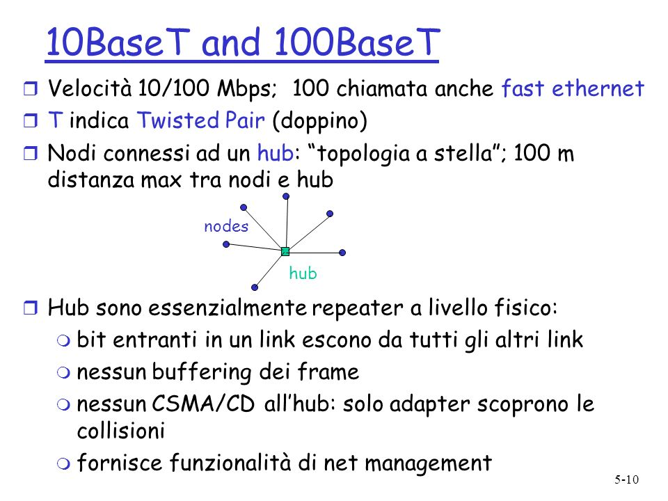 10BaseT and 100BaseTVelocità 10/100 Mbps; 100 chiamata anche fast ethernet. T indica Twisted Pair (doppino)