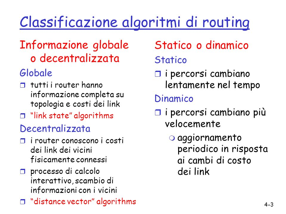 Classificazione algoritmi di routing