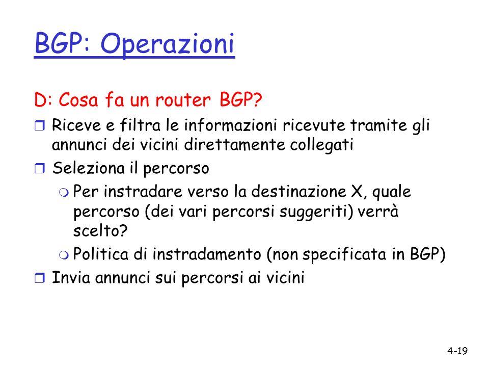 BGP: Operazioni D: Cosa fa un router BGP