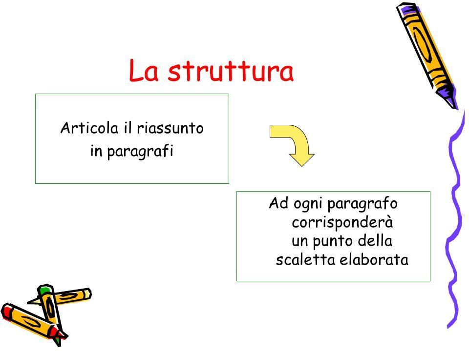La struttura Articola il riassunto in paragrafi