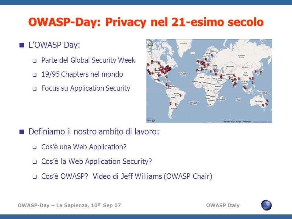 OWASP-Day: Privacy nel 21-esimo secolo