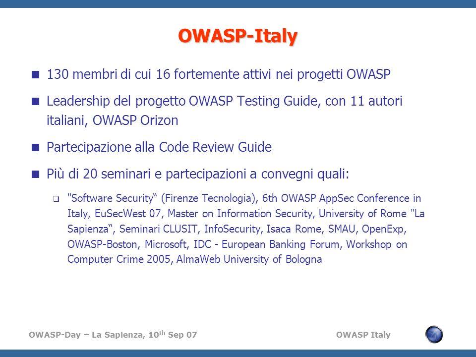 OWASP-Italy 130 membri di cui 16 fortemente attivi nei progetti OWASP