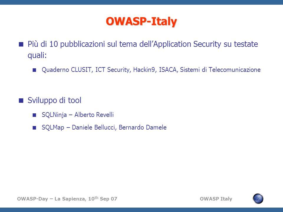 OWASP-Italy Più di 10 pubblicazioni sul tema dell'Application Security su testate quali: