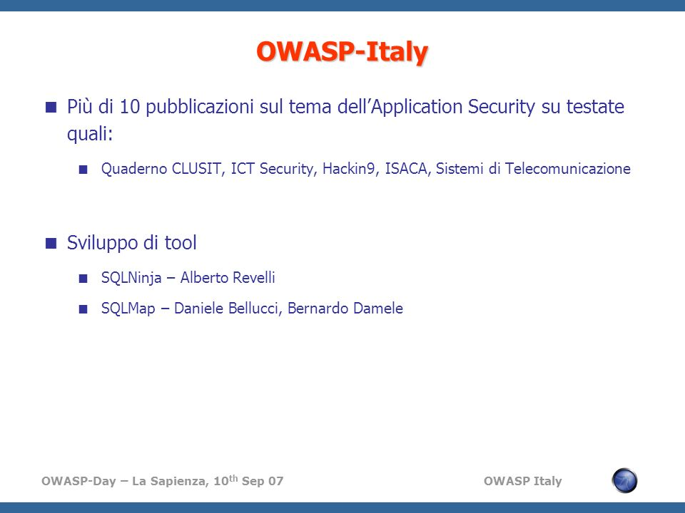 OWASP-ItalyPiù di 10 pubblicazioni sul tema dell'Application Security su testate quali: