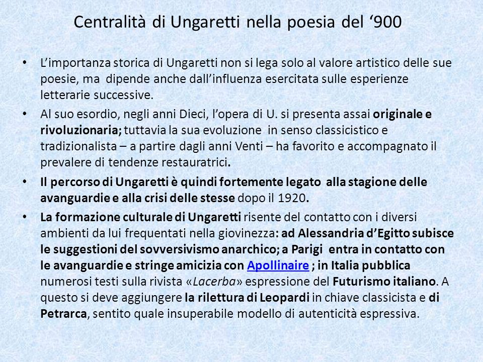 Centralità di Ungaretti nella poesia del '900