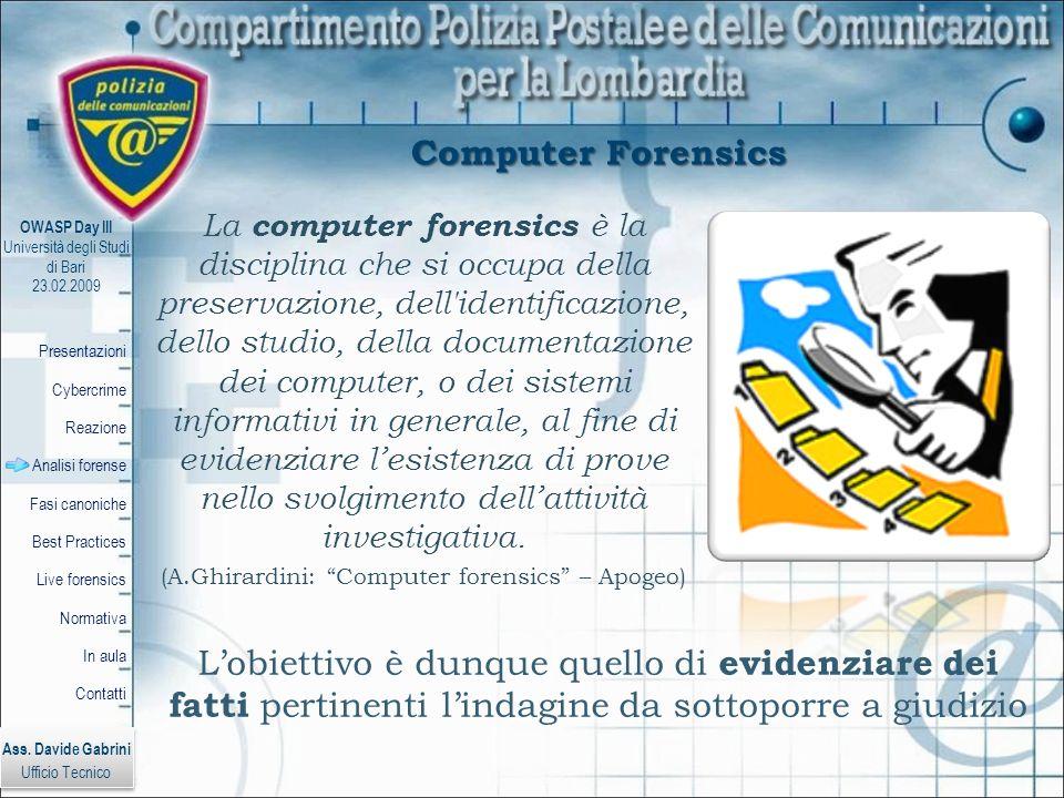 (A.Ghirardini: Computer forensics – Apogeo)