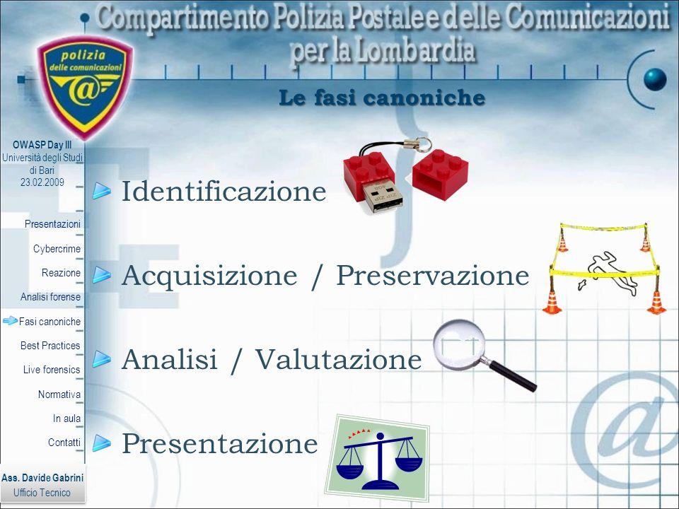 Acquisizione / Preservazione Analisi / Valutazione Presentazione