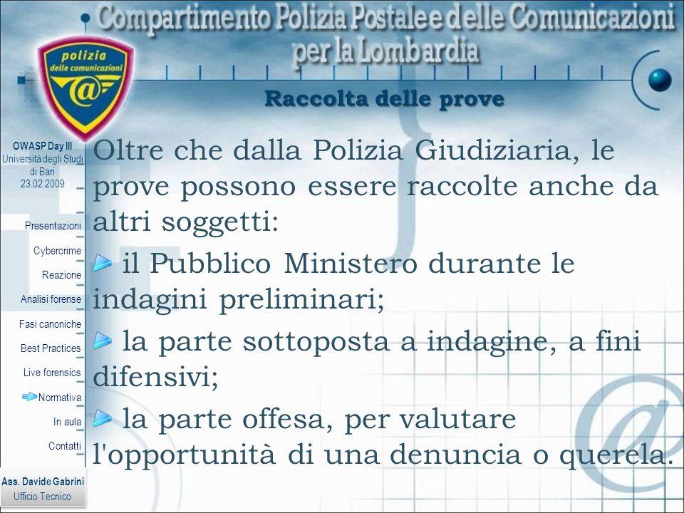 il Pubblico Ministero durante le indagini preliminari;