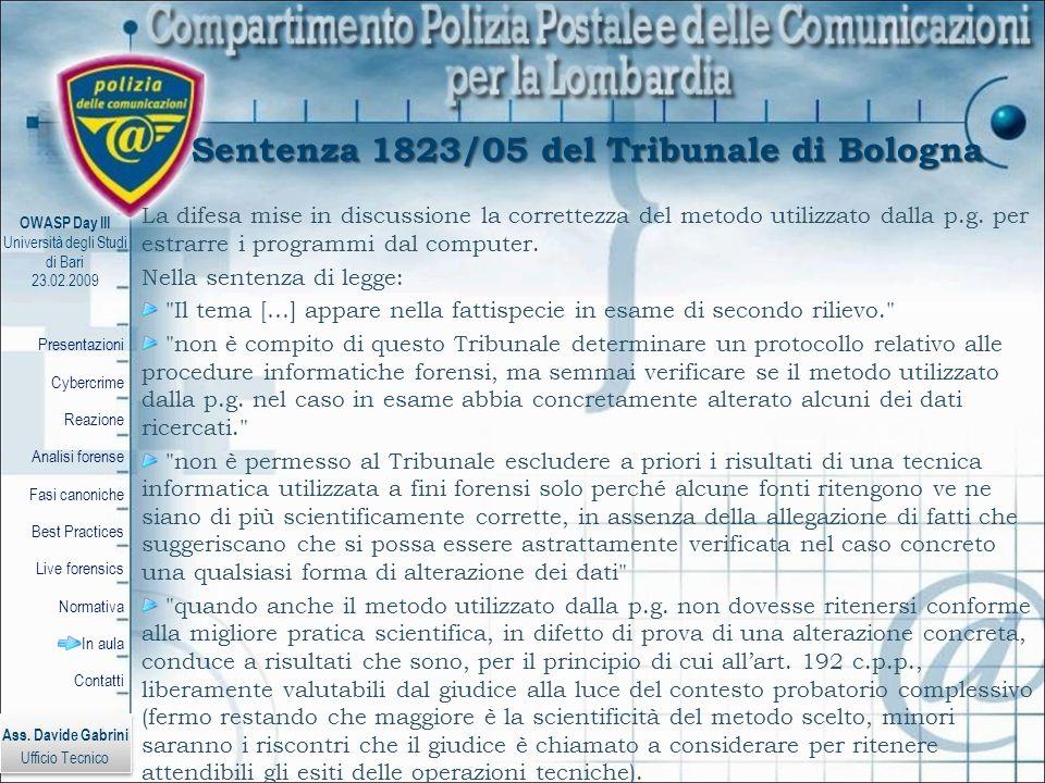 Sentenza 1823/05 del Tribunale di Bologna