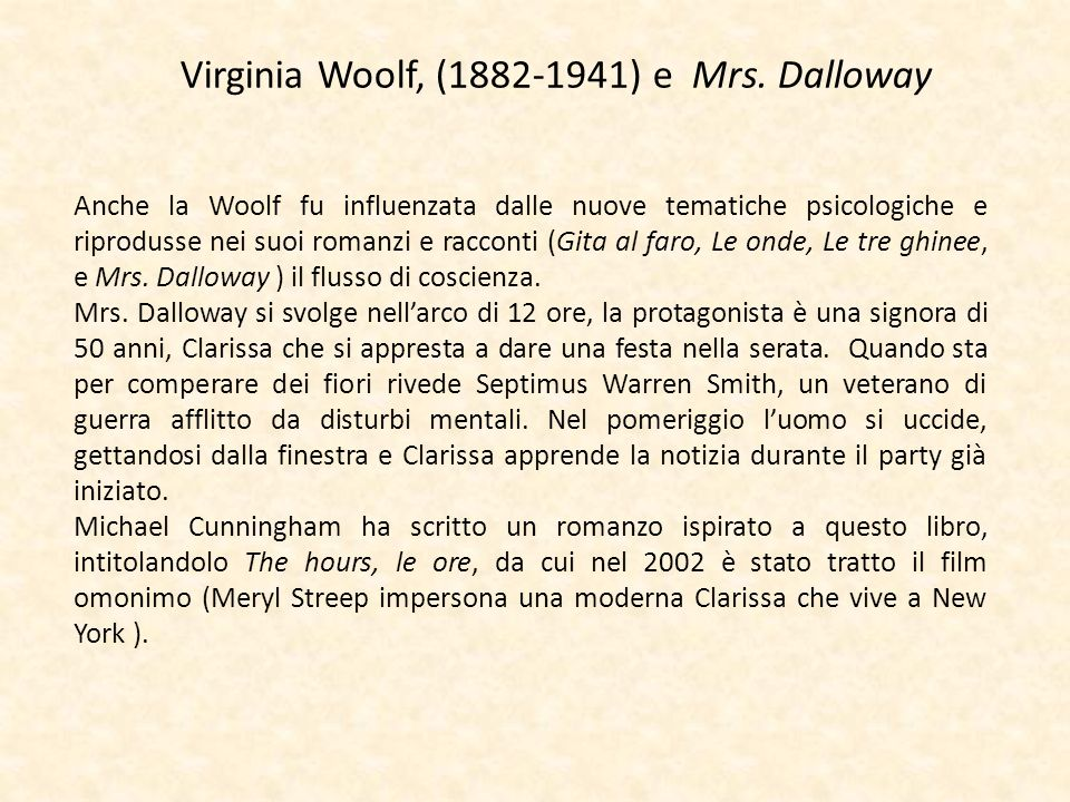 Virginia Woolf, (1882-1941) e Mrs. Dalloway