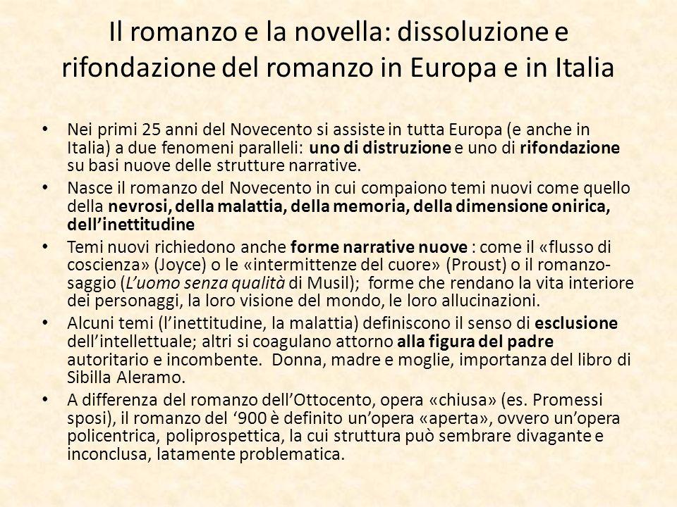 Il romanzo e la novella: dissoluzione e rifondazione del romanzo in Europa e in Italia
