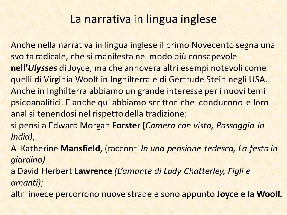 La narrativa in lingua inglese