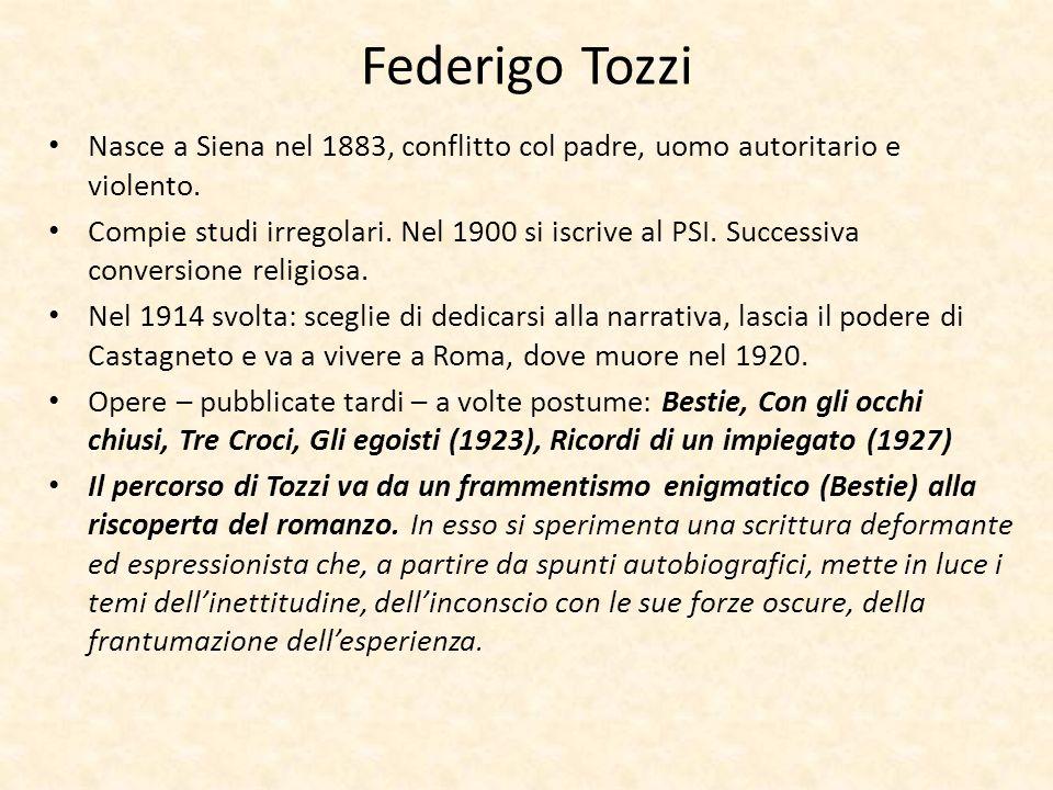 Federigo Tozzi Nasce a Siena nel 1883, conflitto col padre, uomo autoritario e violento.