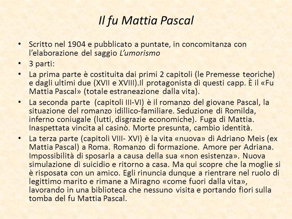 Il fu Mattia Pascal Scritto nel 1904 e pubblicato a puntate, in concomitanza con l'elaborazione del saggio L'umorismo.