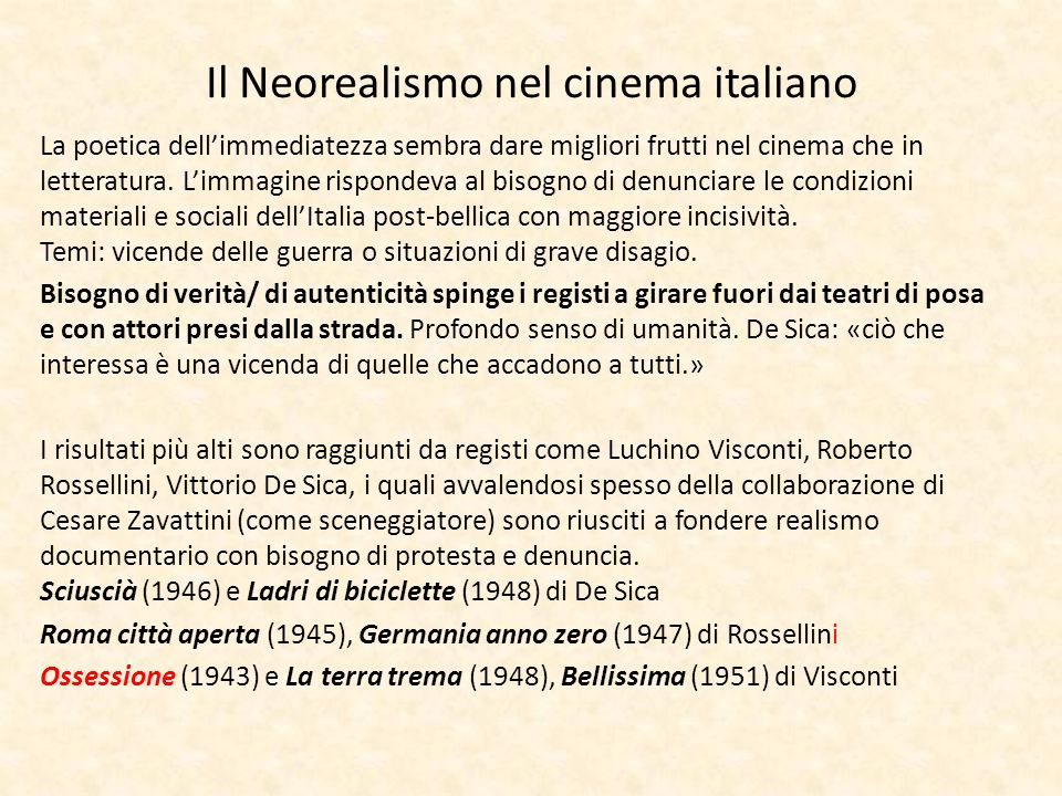 Il Neorealismo nel cinema italiano