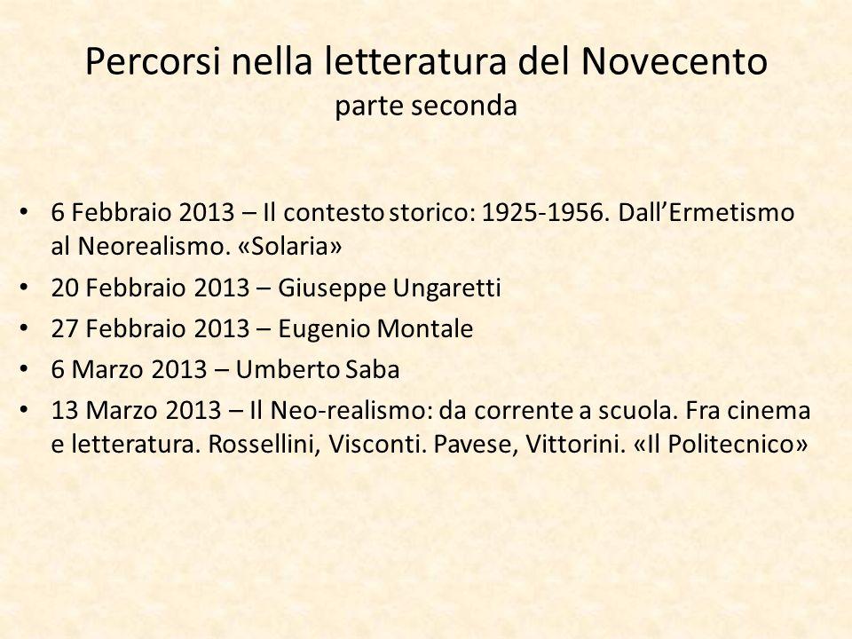 Percorsi nella letteratura del Novecento parte seconda