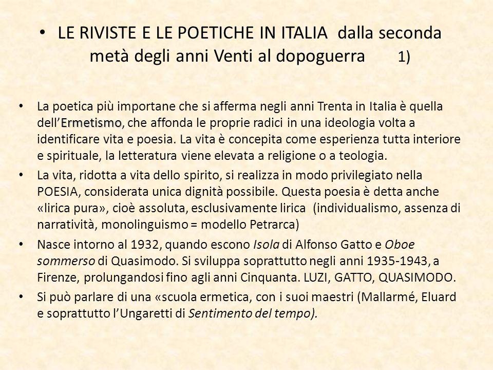 LE RIVISTE E LE POETICHE IN ITALIA dalla seconda metà degli anni Venti al dopoguerra 1)