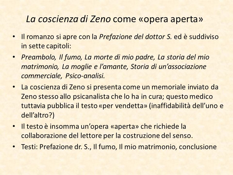 La coscienza di Zeno come «opera aperta»