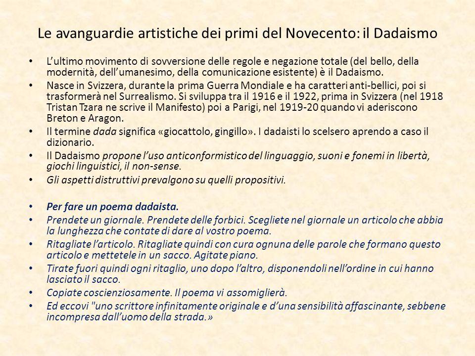 Le avanguardie artistiche dei primi del Novecento: il Dadaismo
