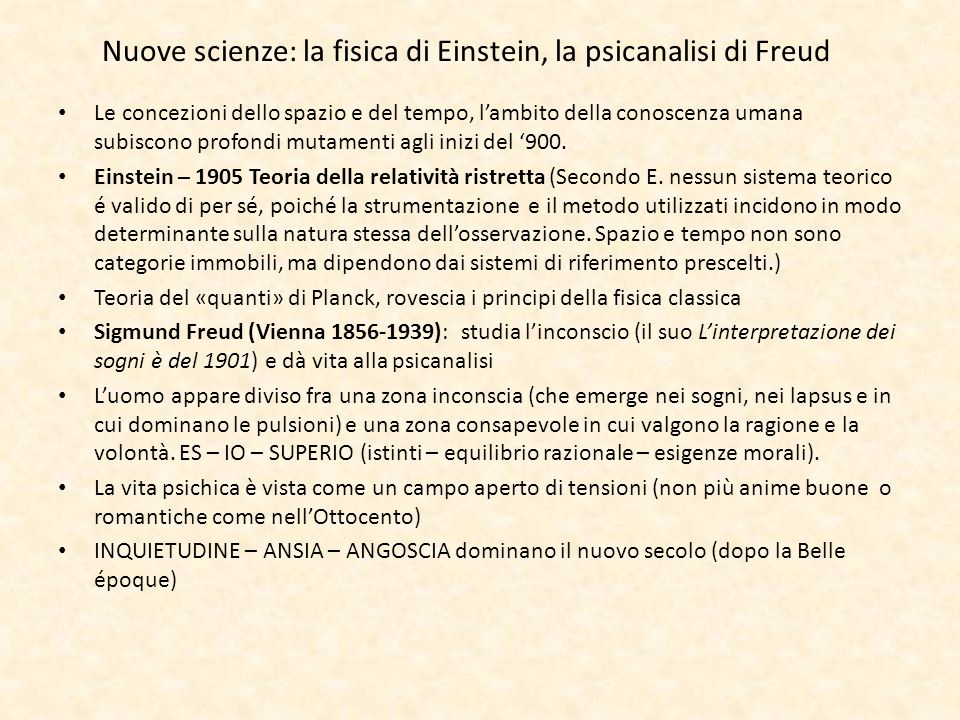 Nuove scienze: la fisica di Einstein, la psicanalisi di Freud