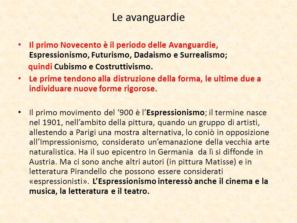 Le avanguardie Il primo Novecento è il periodo delle Avanguardie, Espressionismo, Futurismo, Dadaismo e Surrealismo;