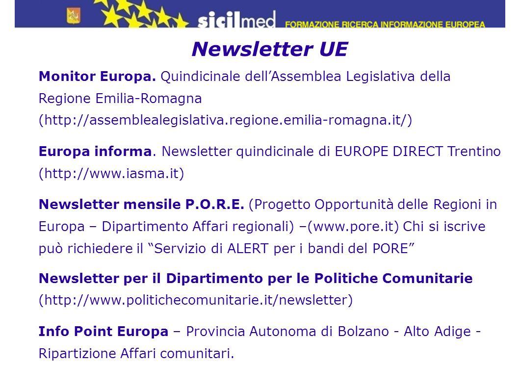 Newsletter UE Monitor Europa. Quindicinale dell'Assemblea Legislativa della Regione Emilia-Romagna.