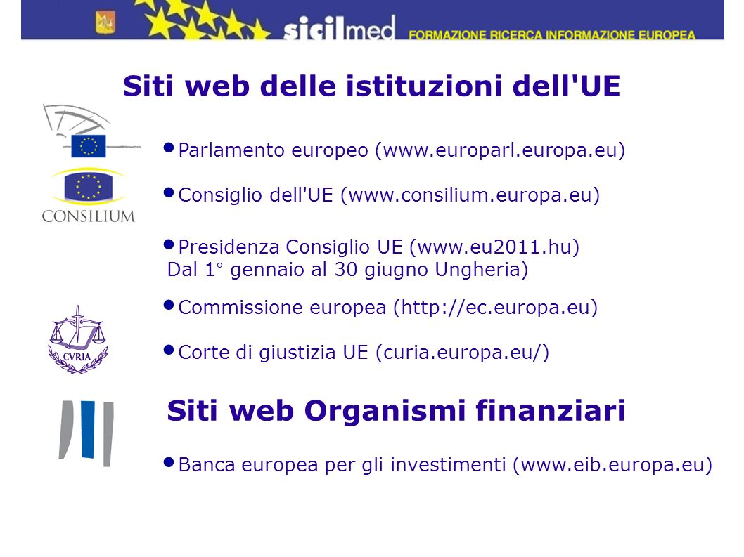 Siti web delle istituzioni dell UE