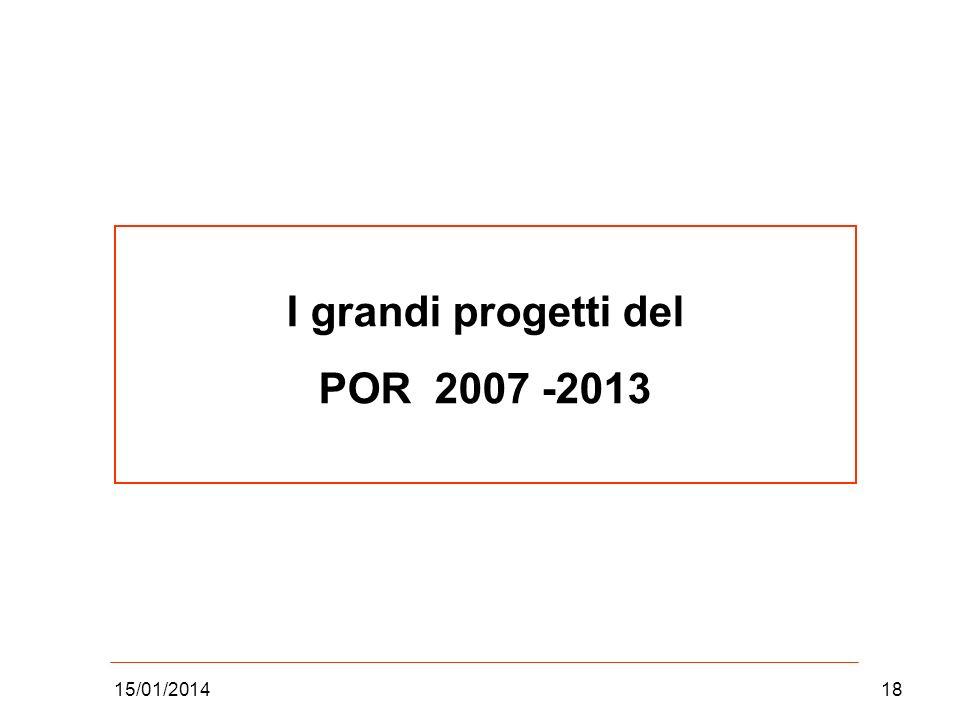 I grandi progetti del POR 2007 -2013