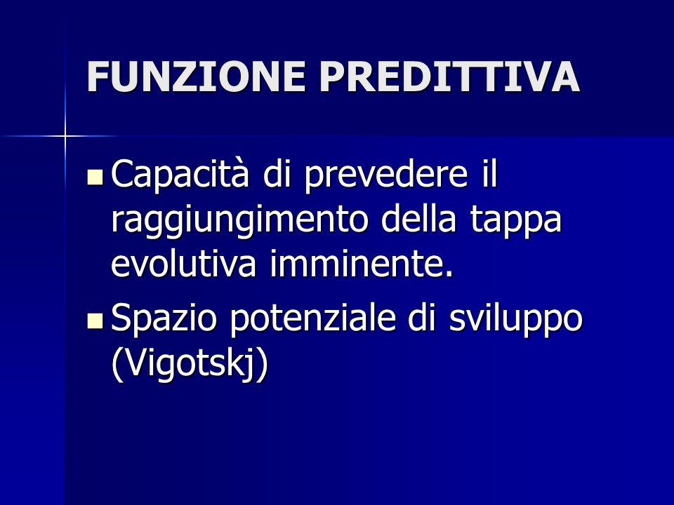 FUNZIONE PREDITTIVA Capacità di prevedere il raggiungimento della tappa evolutiva imminente.