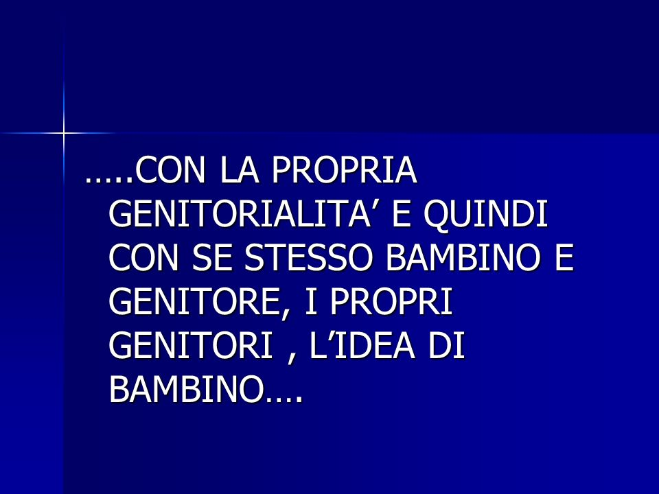 …..CON LA PROPRIA GENITORIALITA' E QUINDI CON SE STESSO BAMBINO E GENITORE, I PROPRI GENITORI , L'IDEA DI BAMBINO….