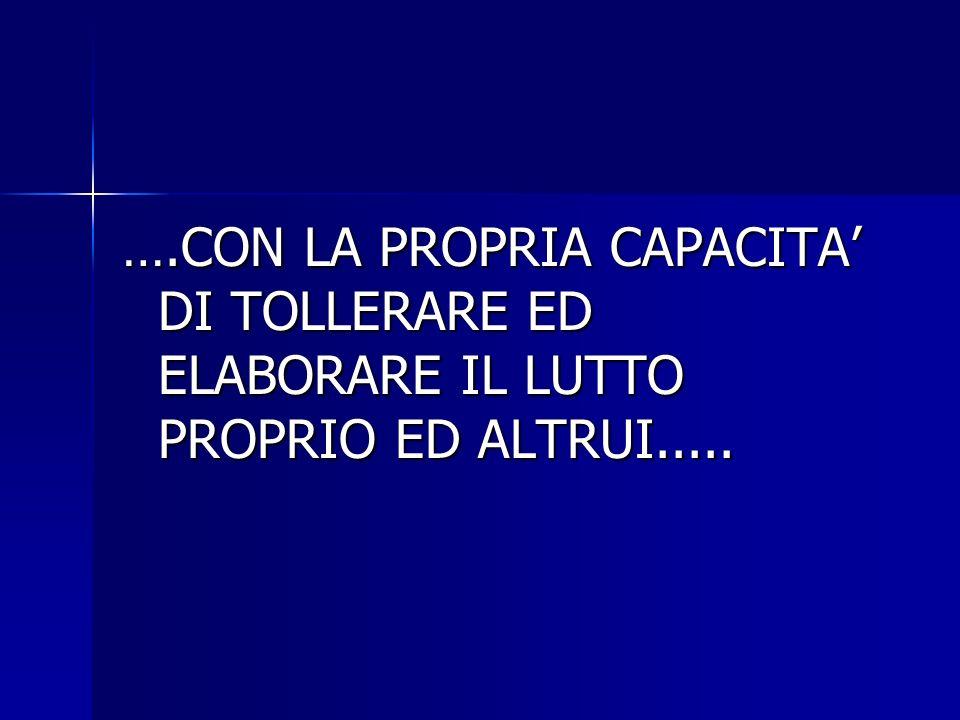 ….CON LA PROPRIA CAPACITA' DI TOLLERARE ED ELABORARE IL LUTTO PROPRIO ED ALTRUI.....
