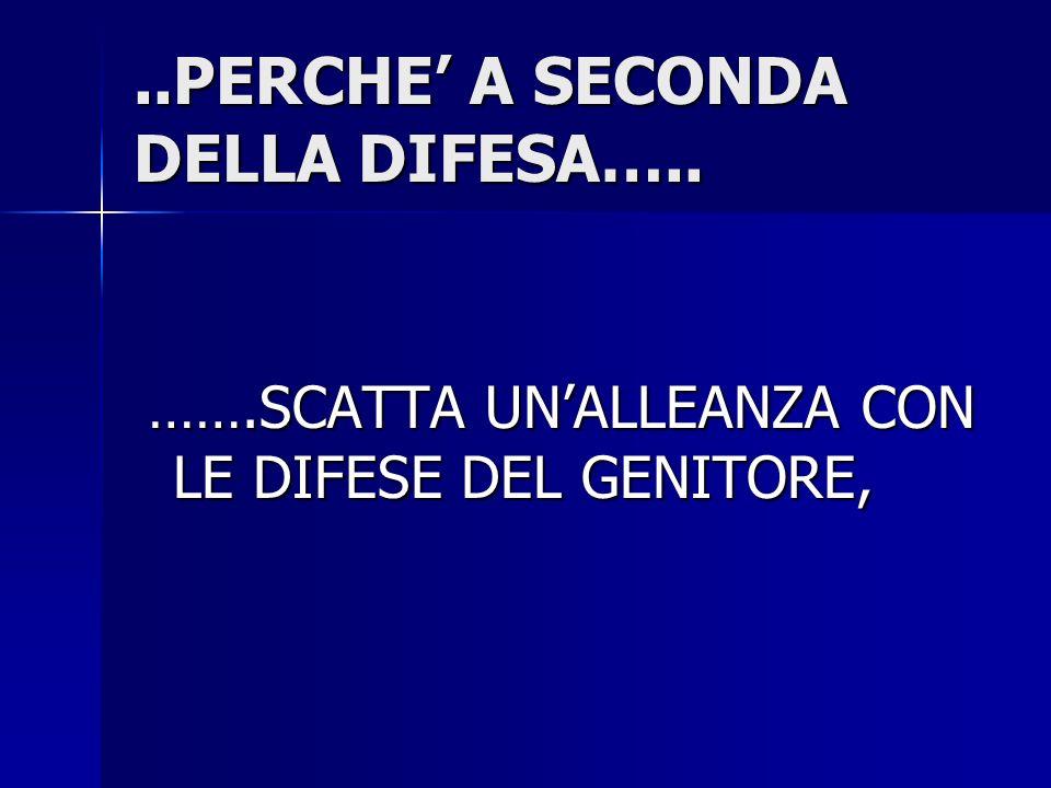 ..PERCHE' A SECONDA DELLA DIFESA…..