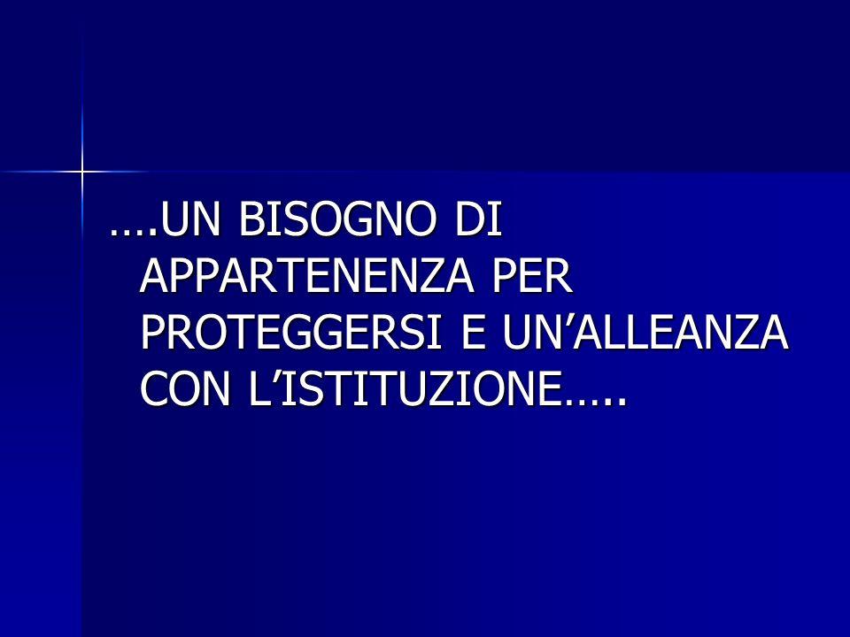 ….UN BISOGNO DI APPARTENENZA PER PROTEGGERSI E UN'ALLEANZA CON L'ISTITUZIONE…..