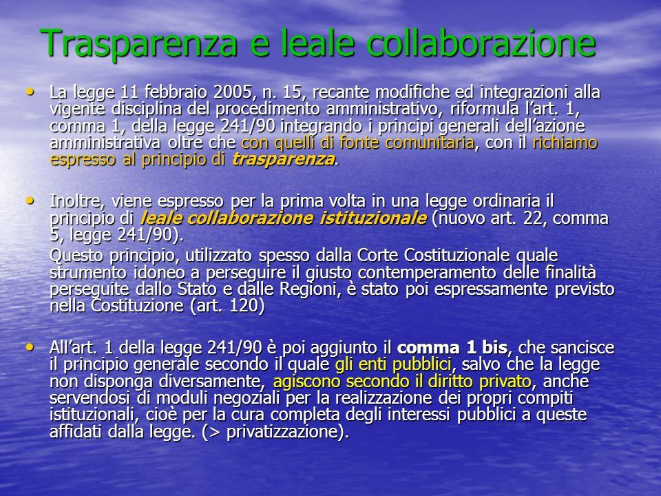 Trasparenza e leale collaborazione