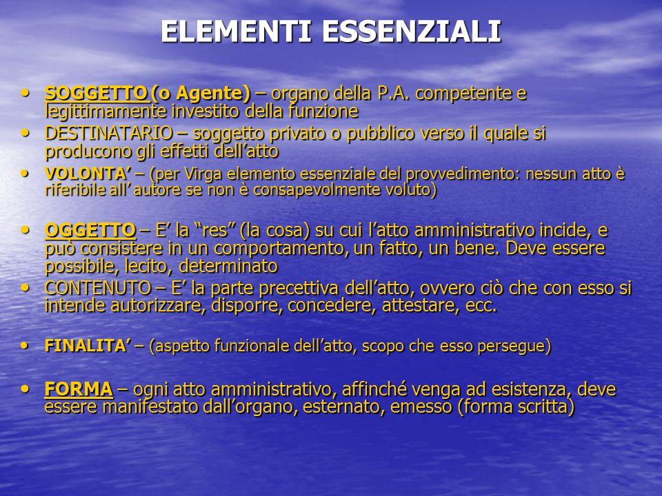 ELEMENTI ESSENZIALI SOGGETTO (o Agente) – organo della P.A. competente e legittimamente investito della funzione.