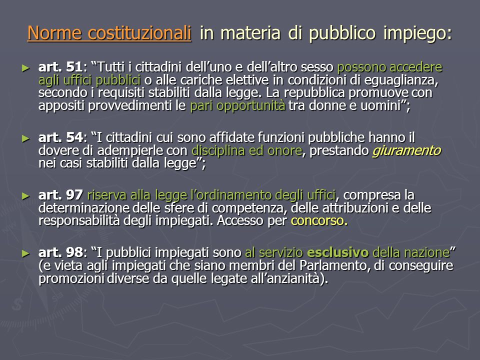 Norme costituzionali in materia di pubblico impiego: