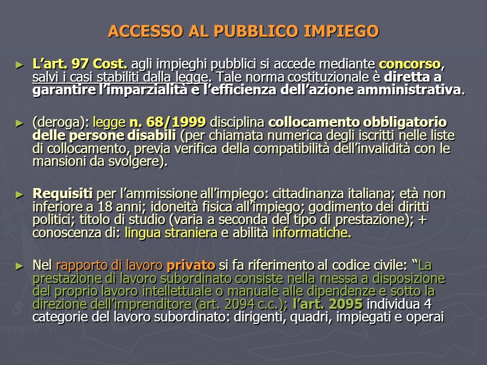 ACCESSO AL PUBBLICO IMPIEGO