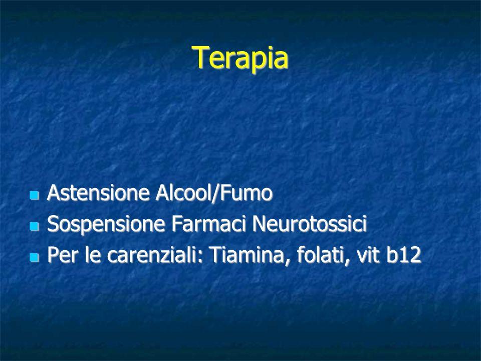 Terapia Astensione Alcool/Fumo Sospensione Farmaci Neurotossici