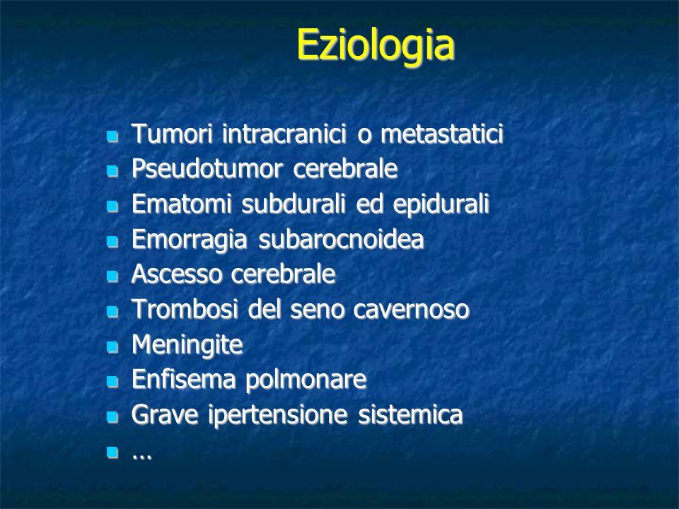 Eziologia Tumori intracranici o metastatici Pseudotumor cerebrale