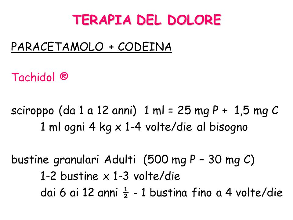 TERAPIA DEL DOLORE PARACETAMOLO + CODEINA Tachidol ®