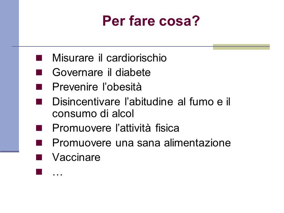 Per fare cosa Misurare il cardiorischio Governare il diabete