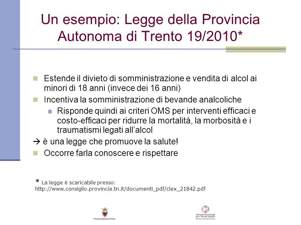 Un esempio: Legge della Provincia Autonoma di Trento 19/2010*