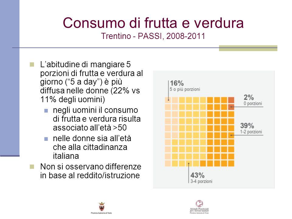 Consumo di frutta e verdura Trentino - PASSI, 2008-2011