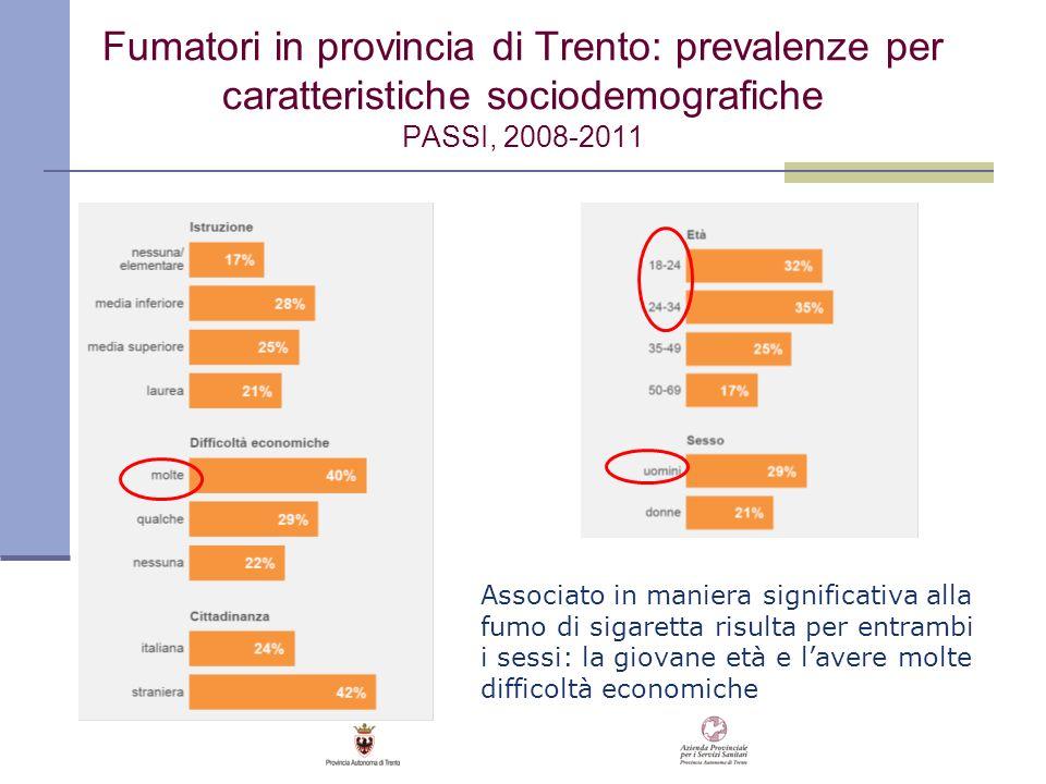 Fumatori in provincia di Trento: prevalenze per caratteristiche sociodemografiche PASSI, 2008-2011