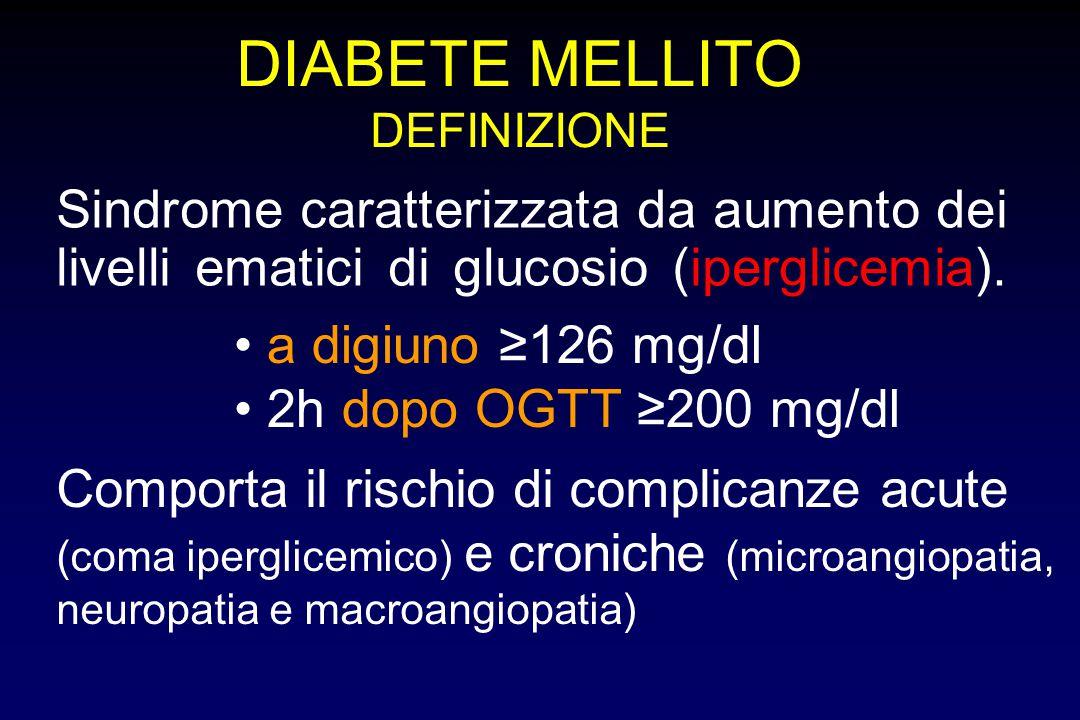 DIABETE MELLITO DEFINIZIONE. Sindrome caratterizzata da aumento dei livelli ematici di glucosio (iperglicemia).