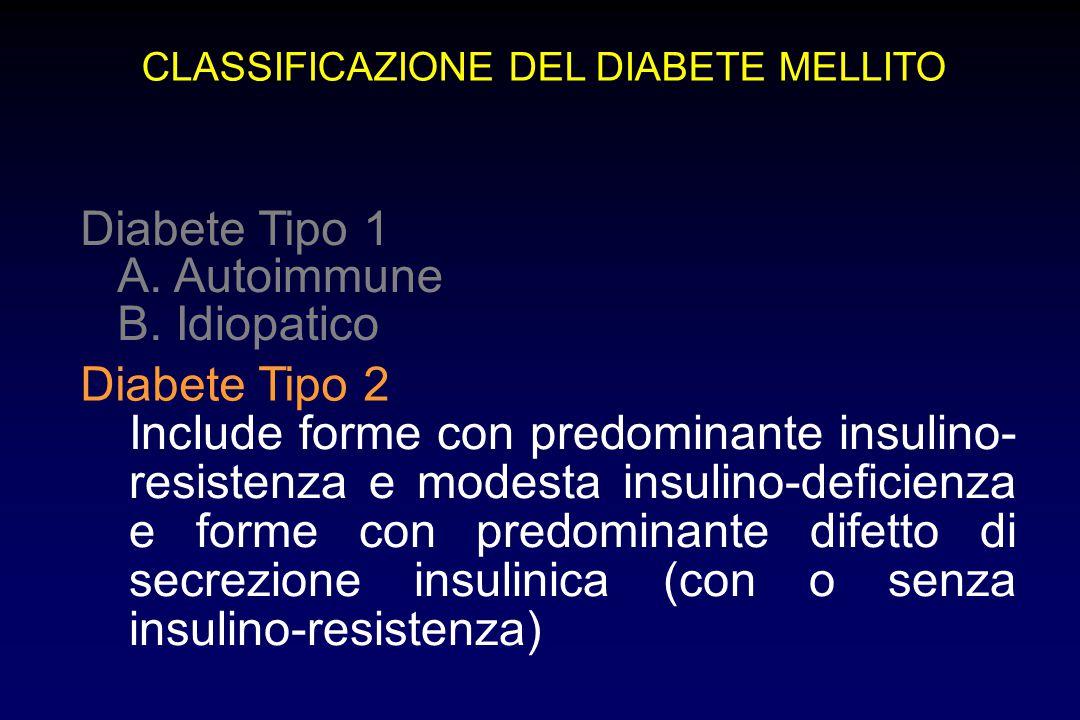 CLASSIFICAZIONE DEL DIABETE MELLITO