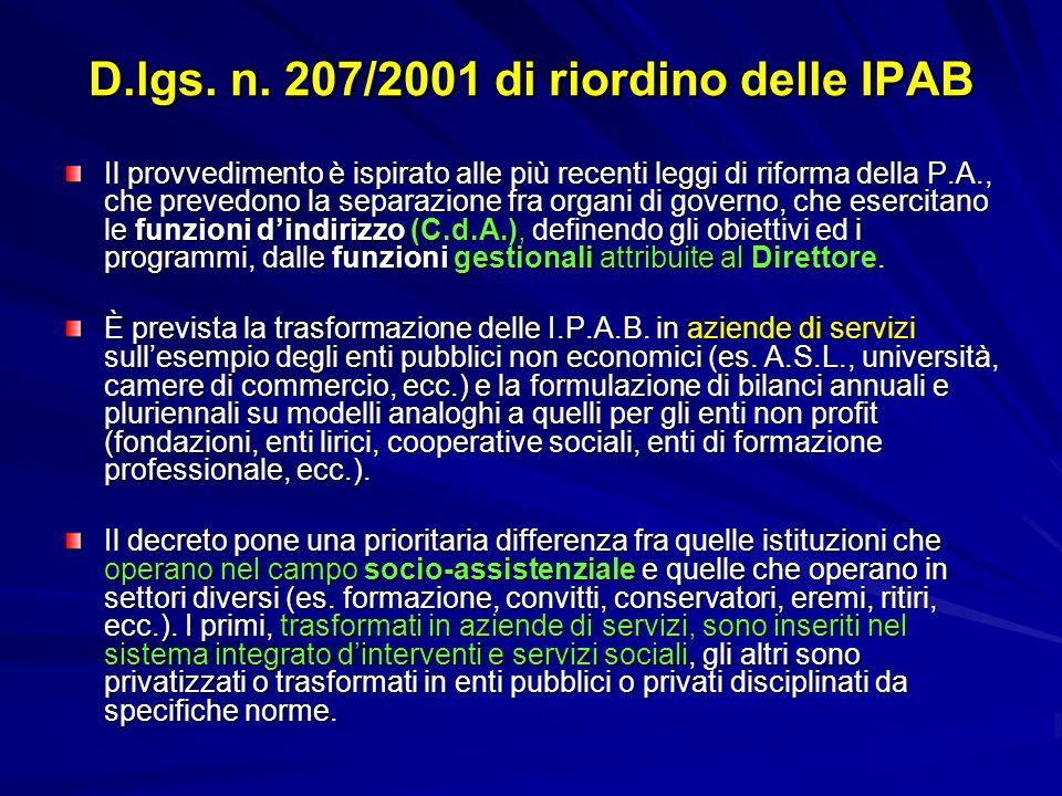 D.lgs. n. 207/2001 di riordino delle IPAB